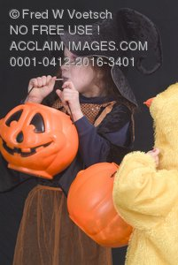 Stock Photo: Children Anxiously Waiting To Go Trick-or-Treating