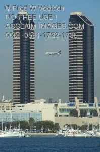 Clip Art Stock Photo of Tall Buildings and Airplane