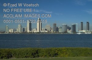 Clip Art Stock Photo of San Diego, California City Skyline
