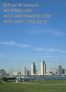 Clip Art Stock Photo of San Diego and San Diego Bay