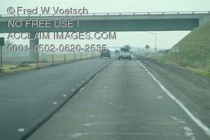 Stock Photo Clipart of a View of Highway Traffic