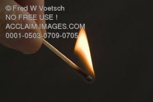 Clip Art Stock Photo of a Match and Flame