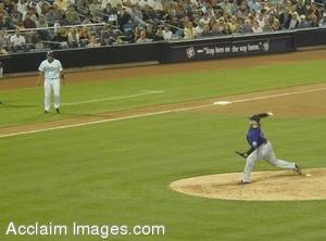 Stock Photo of a Baseball Player Pitching