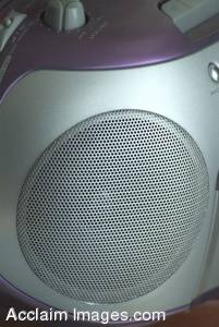 Stock Photo of a Gray and Purple Portable Stereo