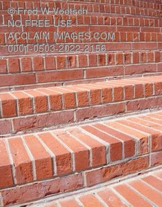 Clip Art Stock Photo of Red Brick Steps