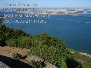 Clip Art Stock Photo of San Diego Bay, San Diego From Pt. Loma