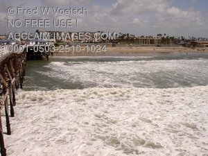 Pacific Beach From The Crystal Pier - Clip Art Stock Photo