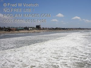 Pacific Beach From The Crystal Pier Stock Photograph