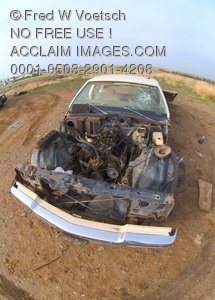 Clip Art Photo of a Junk Car Left in a Field, Abandoned and Stripped