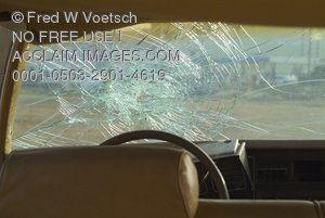 Clip Art Photo of a Broken Windshield in a Car That Has Been in an Accident