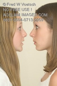 Shocked Look on the Face of Two Sisters - Clip Art Stock Photo