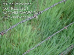 Clip Art Stock Photo of a Barbed Wire Fence