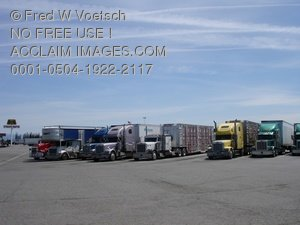 Trucks at a Truck Stop Clip Art Stock Photo