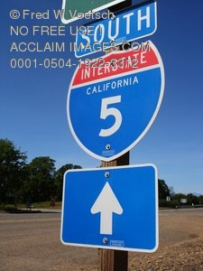 Interstate 5 Highway Sign Clip Art Stock Photo
