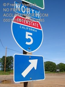 Clip Art Stock Photo of a Highway Road Sign I-5