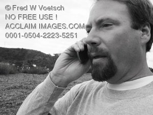 Clip Art Stock Photo of a Man Talking on a Cell Phone