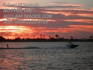 Water Skiing on Mission Bay Clip Art Stock Photo