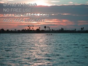 Sunset on Mission Bay Clip Art Stock Photo
