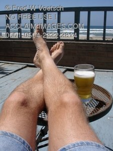 Man Relaxing with Beer at The Beach Clip Art Stock Photo
