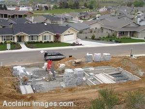 Stock Photo of a Construction Site for a New Home