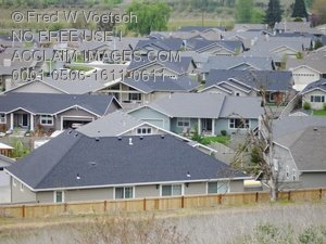 Clip Art Stock Photo of Houses in The Suburbs