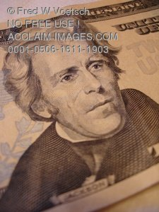 Clip Art Stock Photo of Andrew Jackson On a Twenty Dollar Bill