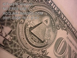 Clip Art Stock Photo of The One Dollar Bill Backside