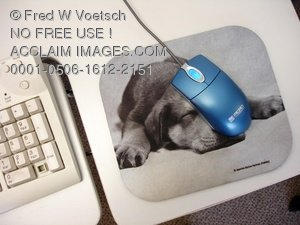 Clip Art Stock Photo of a Mouse & Mouse Pad