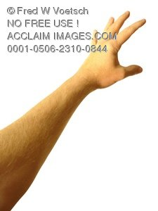 Clip Art Stock Photo of One Arm and Hand Reaching Up