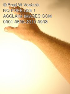 Clip Art Stock Photo of Hand and Arm Reaching