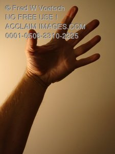 Clip Art Stock Photo of a Hand Reaching Up
