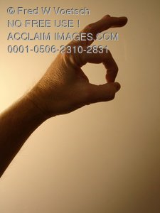 Clip Art Stock Photo of a Person Giving The Okay/OK Hand Signal/Sign