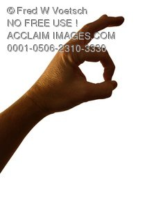 Clip Art Stock Photo of a Okay/OK Hand Signal/Sign - Photo Object
