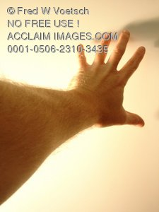 Clip Art Stock Photo of a Hand Reaching Towards a Wall