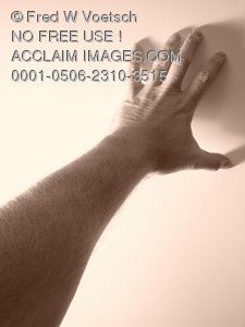 Clip Art Stock Photo of a Persons Hand Reaching Towards a Wall