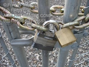 Clip Art Stock Photo of a Chained and Locked Chain Link Fence