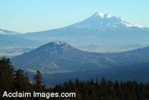 Stock Photo of The Siskiyou Mountain Range and Mt Shasta