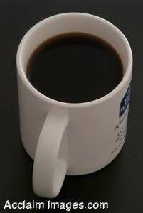 Photo of a Cup of Coffee with a  Black Background.