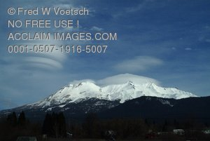 Clipart Stock Photo: Clouds Over Mt Shasta
