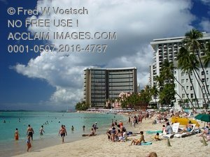 Clip Art Stock Photo of Waikiki Beach, Hawaii
