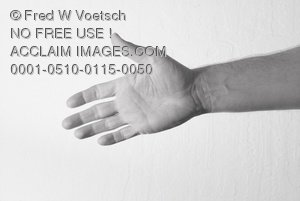 Clip Art Stock Photo of a Man Reaching Out With His Hand