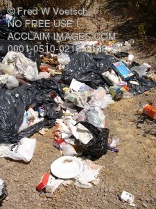 Clipart Stock Photo: Trash Dumped in a Field