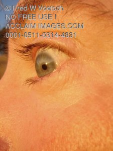 Clip Art Stock Photo of a Frightened Mans Eye