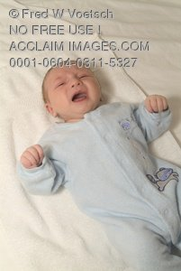 Stock Photo of a Crying Baby Boy