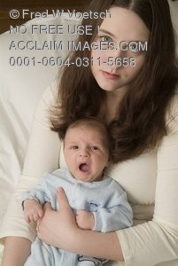 Clip Art Stock Photo of a Tired Mother and Tired, Yawning Baby