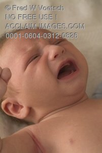 Stock Photo Clip Art of a Crying Baby, an Infant Who Is Hungry or Needs a Diaper Changed