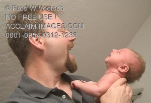 Clip Art Stock Photo of a Man and a Baby Laughing - Father, Uncle, Grandfather