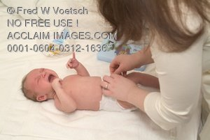 Clip Art Stock Photo of Mother Changing Baby