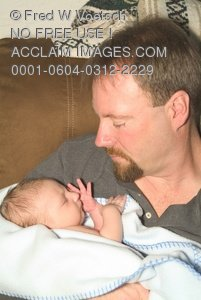 Man, a Father or Uncle, Holding Baby Stock Photography