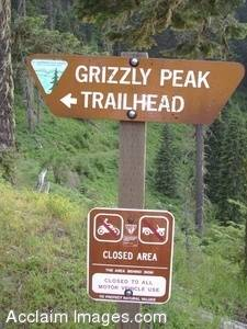 Stock Photo of The Grizzly Peak Trail Sign